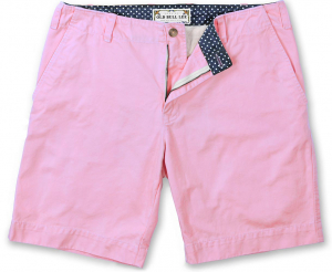 Men's twill short in pink - Front view laydown