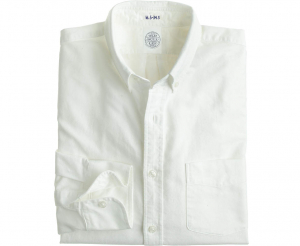 Men's White Button Down Collar Oxford Cloth Shirt - Laydown