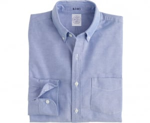 Men's Blue Button Down Collar Oxford Cloth Shirt - Laydown