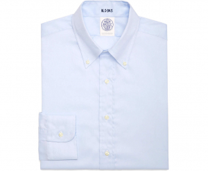 Men's Blue Button Down Collar Pin Point Cotton Shirt - Laydown