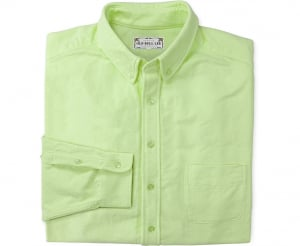 Looking straight at folded Chartreuse men's button down shirt made from chamois cotton fabric