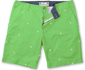 Embroidered Cotton Green Men's Dot Short - product Laydown 022
