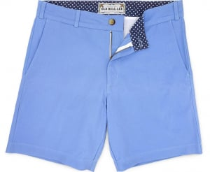 Solid Light Blue Cotton Twill Men's Short With Contrast Lining - laydown