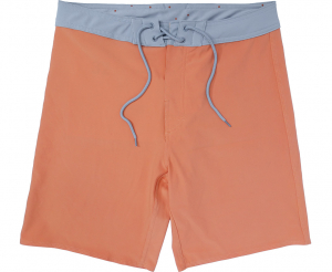 Orange Men's Board short With Grey Waistband - Front view laydown