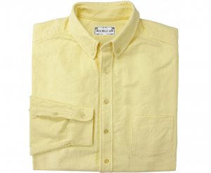 Looking straight at folded yellow men's button down shirt made from chamois cotton fabric