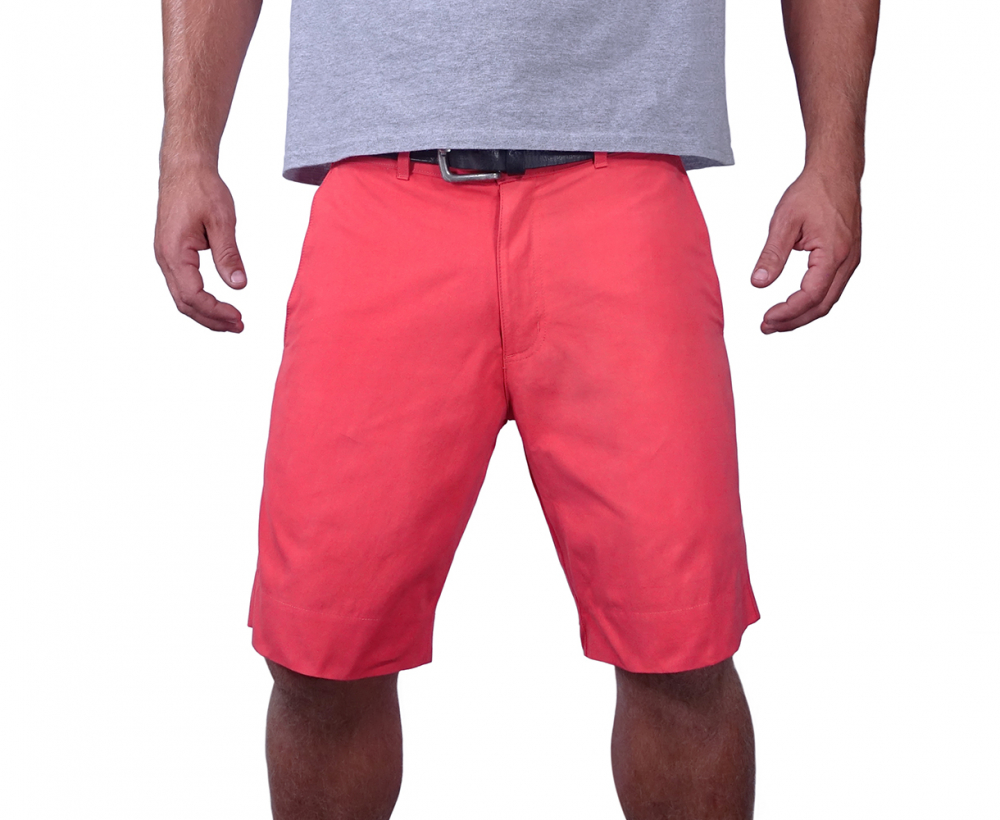 Man Wearing Solid Red Colored Cotton Poplin Men's Short