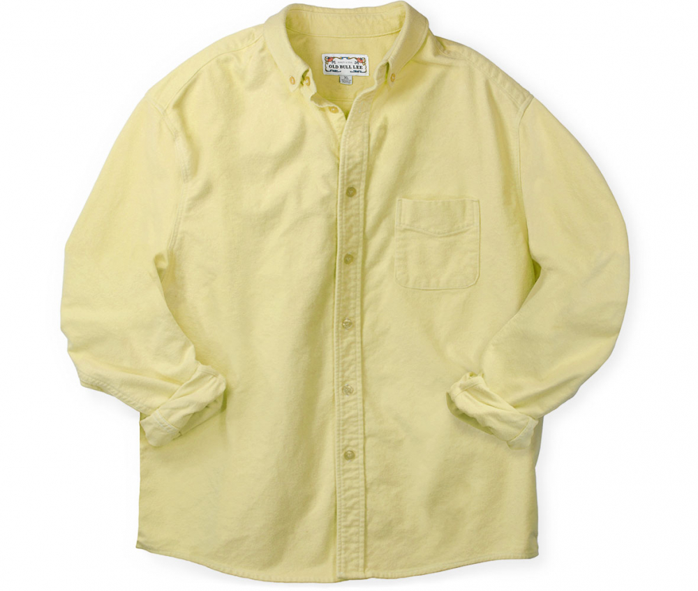 Front elevation of men's yellow long sleeve button down shirt made from chamois cotton fabric