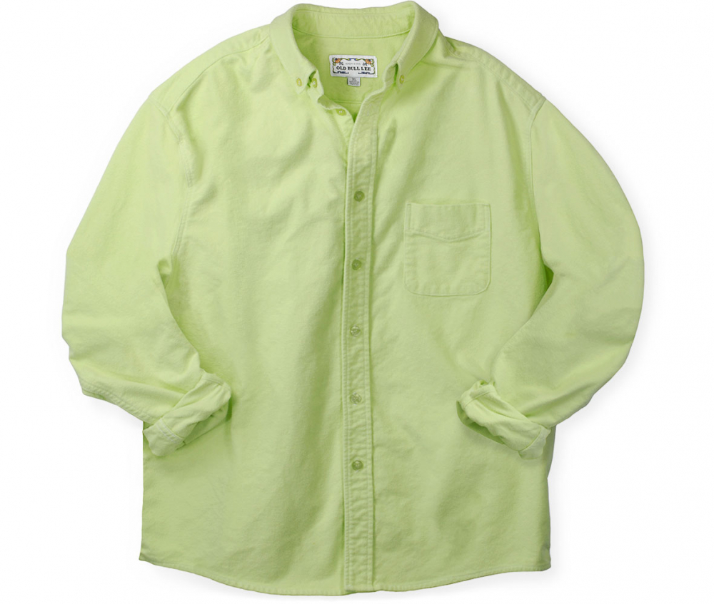 Front elevation of men's bright green long sleeve button down shirt made from chamois cotton fabric