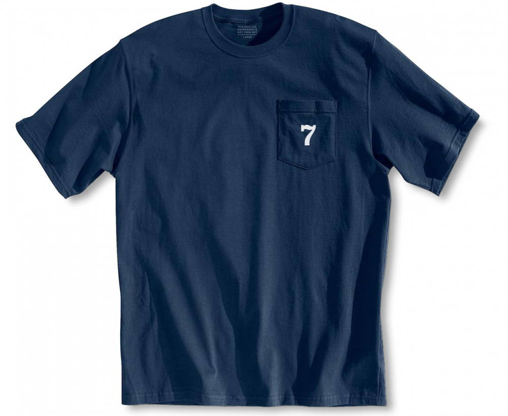 Men's navy T-shirt - Number seven screen printed on pocket - Front view