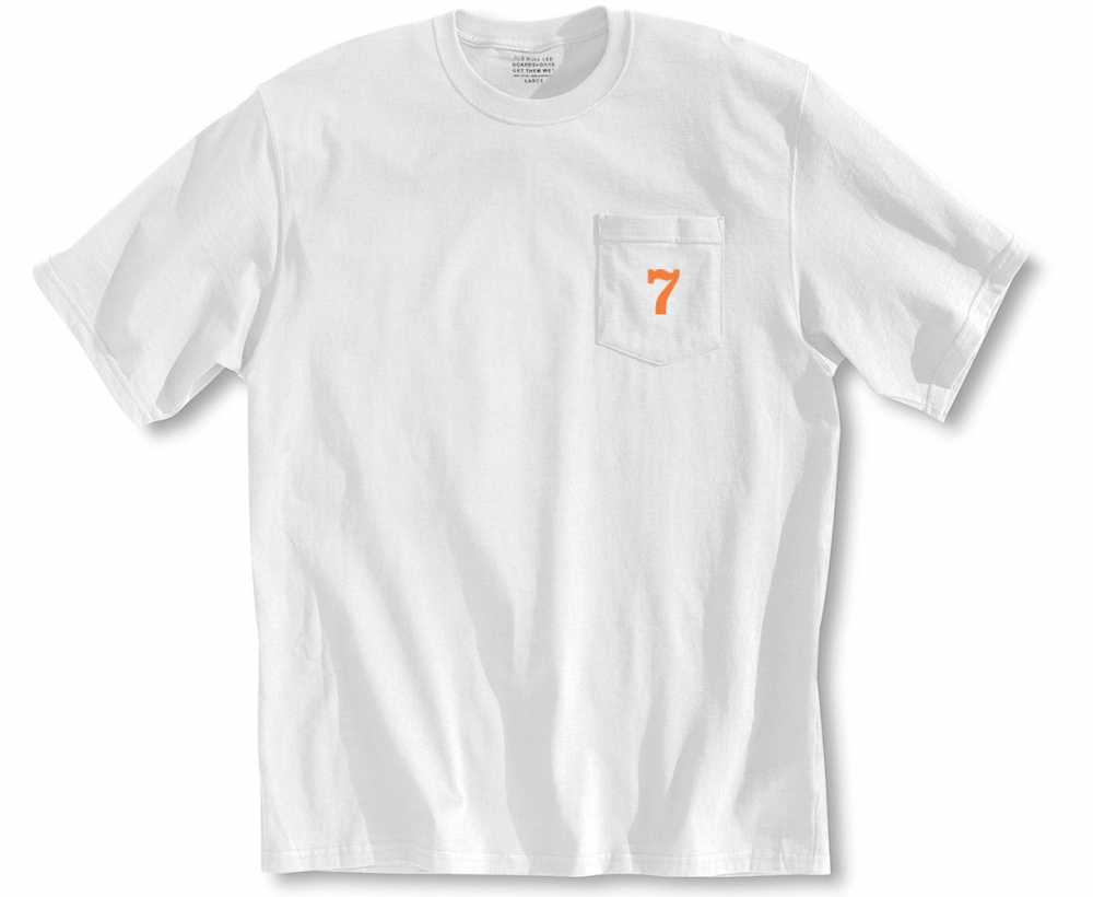 Front view men's white tee shirt - orange number seven screen printed on pocket