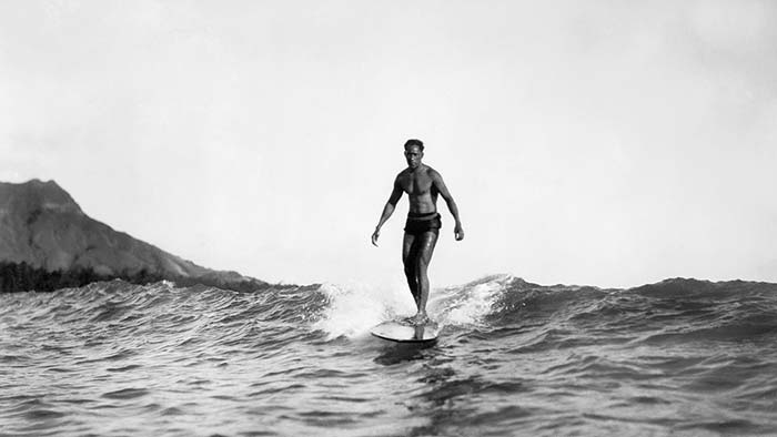Old Picture Man surfing in Hawaii