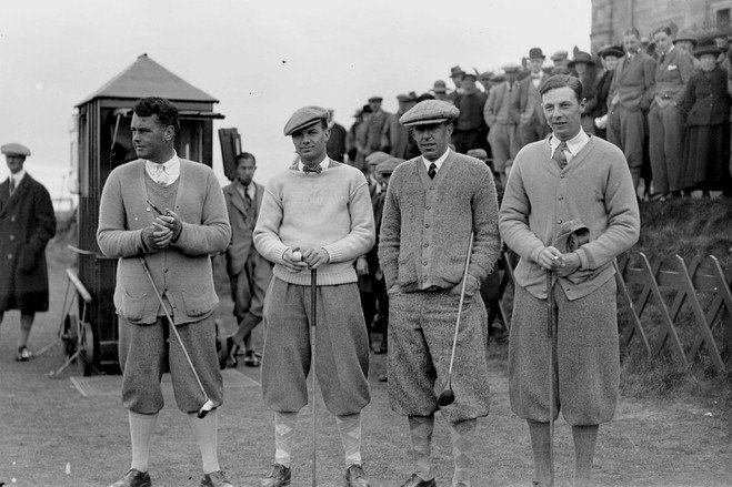 Vintage photo men on golf course wearing shorts / knickers