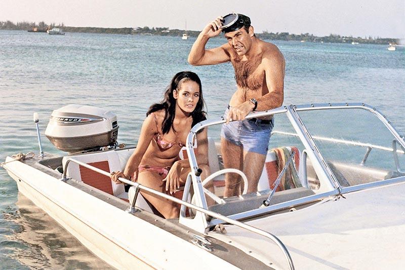 James Bond On Boat from movie Thunderball