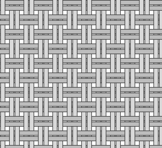 Grayscale diagram of yarn pattern in Basketweave Cloth fabric